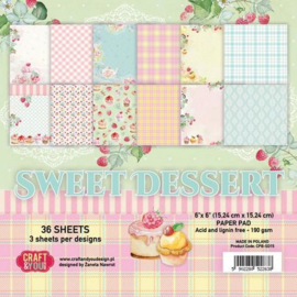 Craft&You Sweet Dessert Small Paper Pad 6x6 36 vel CPB-SD15