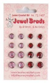 LeCrea - Jewel brads bordeaux & lichtroze 8x 8mm & 8x 10mm 72.1437