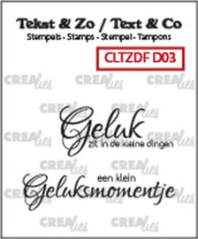 Crealies Clearstamp Tekst & Zo Font Geluk (NL) CLTZDFD03 43x10mm