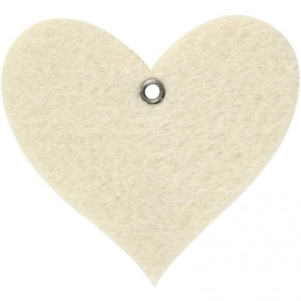 Vilt vorm, afm 8x7 cm, off-white, Hart