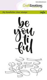 CraftEmotions clearstamps A6 - handletter - be you ti ful (Eng)