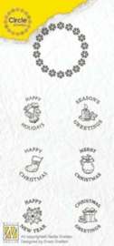 Nellies Choice Clearstempel-Circle Stamp Kerstmis-ENG tekst CCSK002