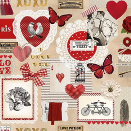 CraftEmotions servetten 5st - Love ticket 33x33cm Ambiente