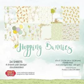 Craft&You Hopping Bunnies Small Paper Pad 6x6 36 vel CPB-HBU15