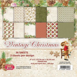 Craft&You Vintage Christmas Small Paper Pad 6x6 36 vel CPB-VC15