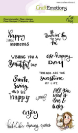 CraftEmotions clearstamps A6 - Kaat en Odey Spring quotes (Eng) Carla Creaties