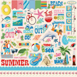 Carta Bella Summer Splash 12x12 Inch Sticker Sheet