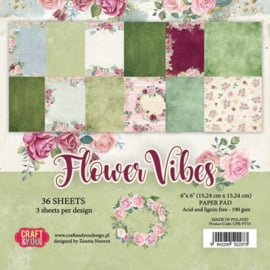Craft&You Flower Vibes small paper pad 6x6 36 vel CPB-FV15