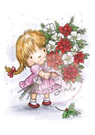 Wild Rose Studio`s A7 stamp set Girl with Xmas Bouquet CL423