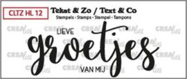 Crealies Clearstamp Tekst & Zo groetjes (dicht NL) CLTZHL12 30x71mm