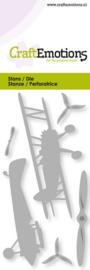 CraftEmotions Die - vliegtuig - dubbeldekker Card 5x10cm