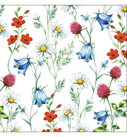Servetten 13311295 - Mixed Wild Flowers White (20 stuks)