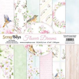 ScrapBoys Flower dreams paperpad 24 vl+cut out elements-DZ FLDR-09 190gr 15,2x15,2cm