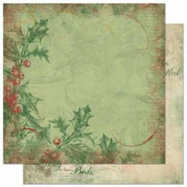Bo Bunny - Father Christmas Collection - 12 x 12 Double Sided Paper - Christmas Berries