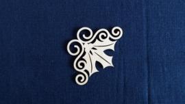 Hoeken Kerst hulsttakje 3,3 cm 1,5mm dik chipboard 4 stuks
