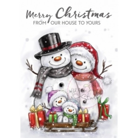Wild Rose Studio`s A7 stamp set Snowman Family CL496