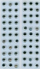 Wiebelogen zelfklev. rond zwart wit 10 mm 66 ST
