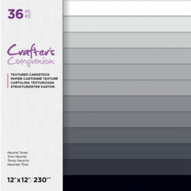 Crafters Companion - 30x30 cm linnen Cardstock Paperpad - Neutral Tones