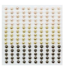 Nellie`s Choice - APS405 - Adhesive half pearls 3 tinten bruin