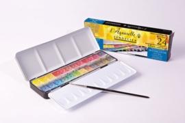 Sennelier L`aquarelle set 24 halve napjes + 1 penseel