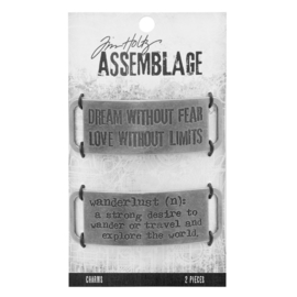 Tim Holtz Assemblage charms x2 metal bands