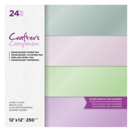 Crafters Companion - Paperpad Parelmoer 30x30 cm - Lovely Lilacs