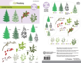 CraftEmotions Step clearstamps A5 - kerstbomen, takken Christmas Nature