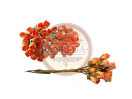 Mini Semi Open Rose Buds - Tangerine Variegated