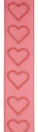 Vivant Lint Glittering hearts warm rood 25mm - per meter