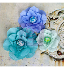 Fabric flowers-Taj Blue - Prima Marketing
