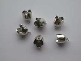Brass Bell Cap-eindkap met oog 10mm platinum 6 ST 12296-9605
