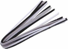 Buigbare pijpenragers / Chenille (per stuk/alleen nog zwart of wit) - 50 cm