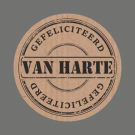 Kraft Etiket Van Harte, 20 stuks