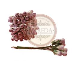 Mini Semi Open Rose Buds - Purple Variegated (NOG 1 SETJE ~ LAATSTE)