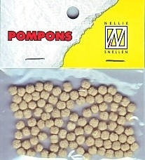Mini pompons 3mm - kleur: beige