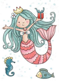 Wild Rose Studio`s A7 stamp set Mermaid Birthday CL520