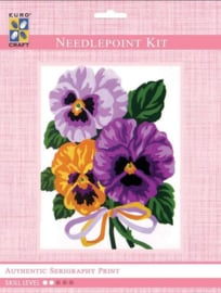 Eurocraft NEEDLEPOINT KIT 14x18cm - 3287K - Pansies Bouquet