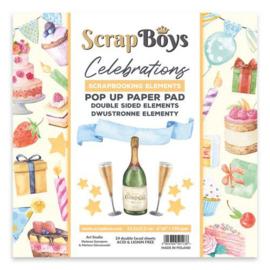 Scrapboys POP UP Paper Pad double sided elements - Celebrations POPCE-04 190gr 15,2x15,2cm