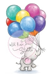 Wild Rose Studio`s A7 stamp set Bunch of Balloons CL453