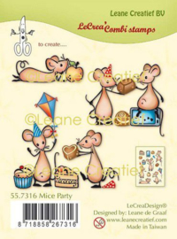 LeCrea - Clear stamp combi Muizen party 55.7316