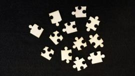 Puzzel stukjes 2 á 2,5 cm 1,5mm dik chipboard 12 stuks