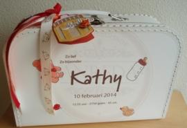 35 cm wit Koffertje ~ Geboorte kaartje