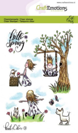 CraftEmotions clearstamps A6 - Kaat en Odey 3 Spring Carla Creaties