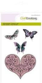 CraftEmotions clearstamps A6 - hart en vlinders Happiness