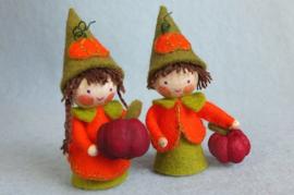 Twee kleine pompoenkabouters, atelier Pippilotta