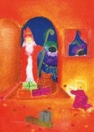 Sint en Piet in de deuropening, Baukje Exler