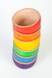 6 houten kommetjes Regenboog, Grapat