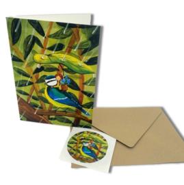 Bloemen plukken in de regen - dubbele kaart (excl. sticker, envelop optioneel), Esther Bennink