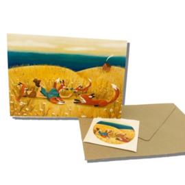 Duinfeestje - dubbele kaart (excl. sticker, envelop optioneel), Esther Bennink