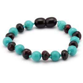 Armband Barnsteen & Turquoise